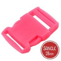 Boucle plastique type sac à dos, 38mm coloris Rose Flashy