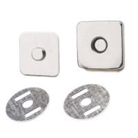 1 set Bouton aimanté forme carré,argenté 18 mm