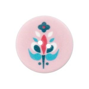 Bouton rond motif scandinave, coloris rose pâle, 20mm