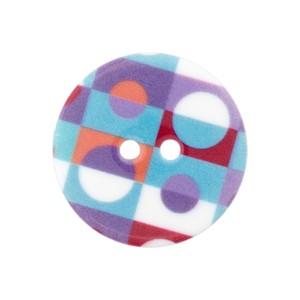 Bouton rond pois rétro, violet, 18mm