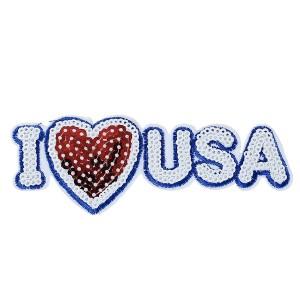 Grand Ecusson thermocollant I Love USA