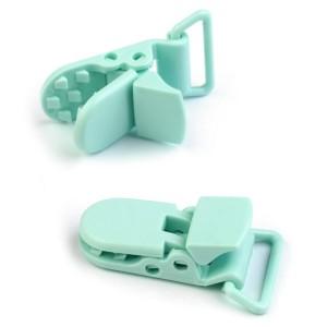 Pince attache Tétine plastique, coloris vert d'eau (2 pièces)