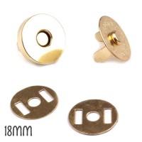 2 Boutons aimantés dorés 18 mm