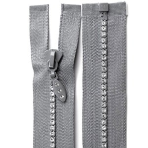Fermeture éclair strass gris clair, 60 cm séparable