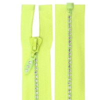 Fermeture éclair strass jaune fluo, 60 cm séparable