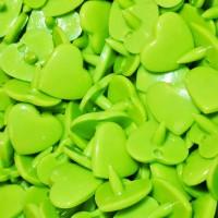 Pression Kam coeur, coloris Vert anisé  (lot de 5)