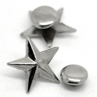 Rivet argenté en forme d'étoile, 14mm. Lot de 10.