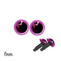 Yeux sécurité fushia 8mm pour peluche (2 paires)
