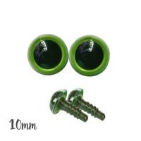 Yeux sécurité vert 10mm pour peluche (2 paires)