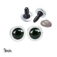 Yeux sécurité transparents 9mm pour peluche, pupille ronde (5 paires)