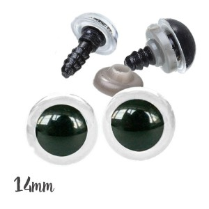Yeux sécurité transparents 14mm pour peluche, pupille ronde  (5 paires)