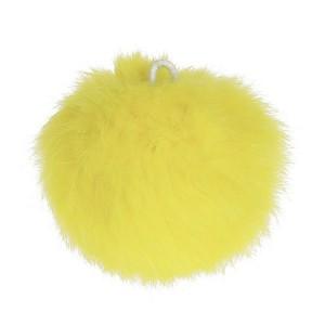 Pompon jaune bouton d'or, en angora, 80 mm, à l'unité