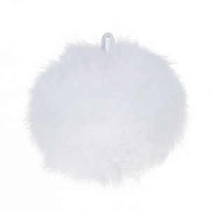 Pompon blanc, en angora, 80 mm, à l'unité