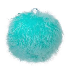 Pompon bleu turquoise, en angora, 80 mm, à l'unité