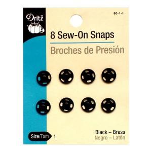 Pressions rond métal à coudre 10mm, coloris noir DRITZ (carte de 8)