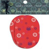 Thermocollettes par Charlotte Vanier : 2 Ecussons thermocollant motif fleur rouge