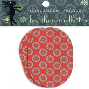 Thermocollettes par Charlotte Vanier : 2 Ecussons thermocollant motif flocon rouge