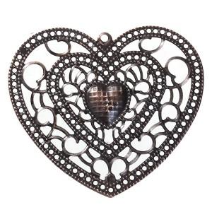 Grand Pendentif coeur, coloris cuivre