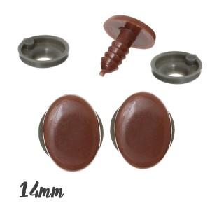 Yeux ou Nez sécurité café ovale 10mm x 14mm pour peluche (5 paires)