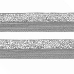 Élastique plat gris et argent, bicolore, 15 mm