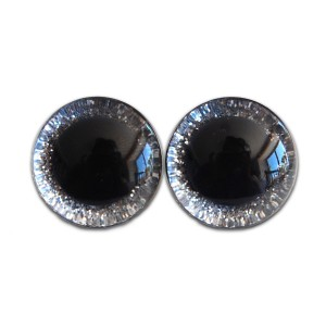 Yeux sécurité brillants argentés 20mm pour peluche, pupille ronde (1 paire)