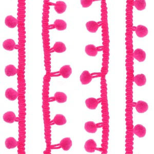 Galons petits Pompons, coloris rose fluo