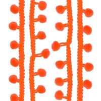 Galons petits Pompons, coloris orange fluo
