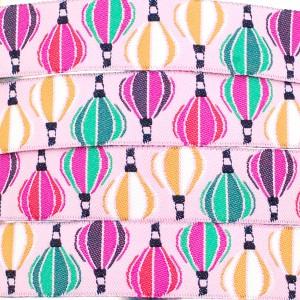 Ruban montgolfières, fond rose pâle (x 50 cm!)