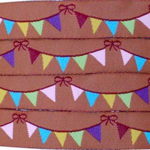 Ruban fanions, fond chocolat (x 50 cm!)