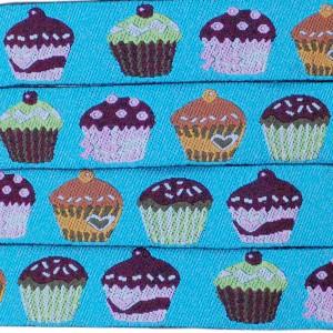 Ruban gâteau cupcake, fond bleu (x 50 cm!)