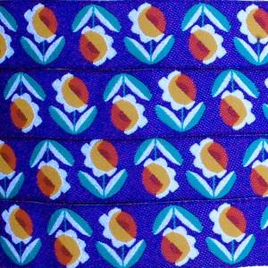 Ruban fleur retro, fond bleu (x 50 cm!)