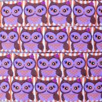 Ruban chouettes violette (x 50 cm!)