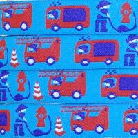 Ruban Pompiers et camion à échelle, fond bleu (x 50 cm!)