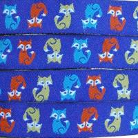 Ruban renards, fond bleu (x 50 cm!)