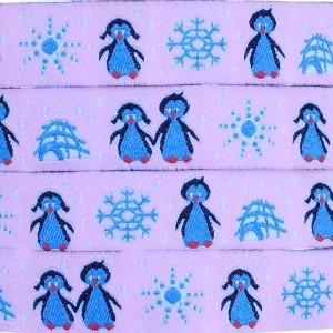 Ruban Pingouins, fond rose (x 50 cm!)