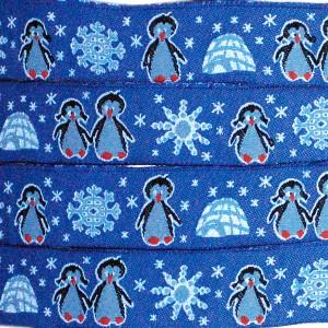 Ruban Pingouins, fond bleu (x 50 cm!)