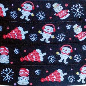 Ruban Bonhomme de neige, fond noir (x 50 cm!)