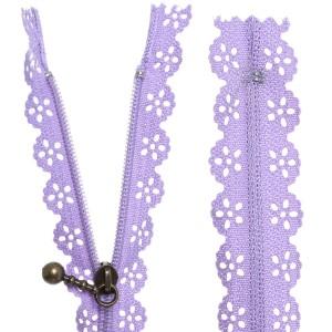 Fermeture éclair Dentelle violet, 15 cm
