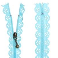 Fermeture éclair Dentelle bleu, 15 cm