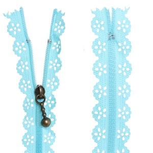 Fermeture éclair Dentelle bleu, 20 cm