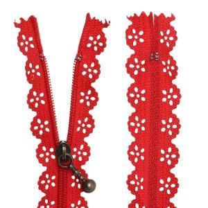 Fermeture éclair Dentelle rouge, 15 cm