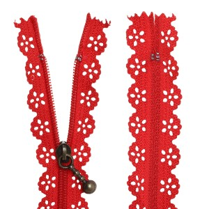 Fermeture éclair Dentelle rouge, 20 cm
