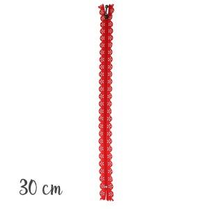 Fermeture éclair Dentelle rouge, 30 cm