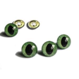 Yeux sécurité vert 25mm pour peluche, pupille œil de chat (1 paire)