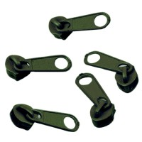 Curseur vert kaki pour Fermeture éclair vendue au mètre (pour maille de 3mm)