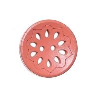 Bouton rond ajouré en Bois, motif fleur, coloris rose saumon