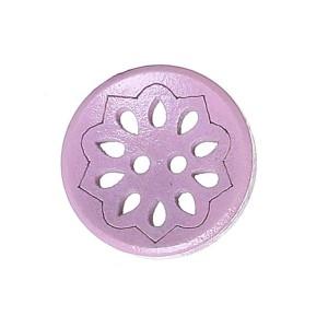 Bouton rond ajouré en Bois, motif fleur, coloris rose ancien