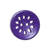 Bouton rond ajouré en Bois, motif fleur, coloris violet