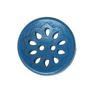Bouton rond ajouré en Bois, motif fleur, coloris bleu orageux