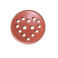 Bouton rond ajouré en Bois, motif coeur, coloris rose saumon